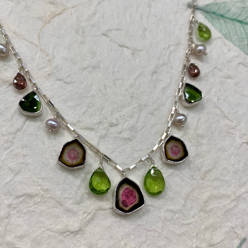 WATERMELON TOURMALINE AND PEARL NECKLACE