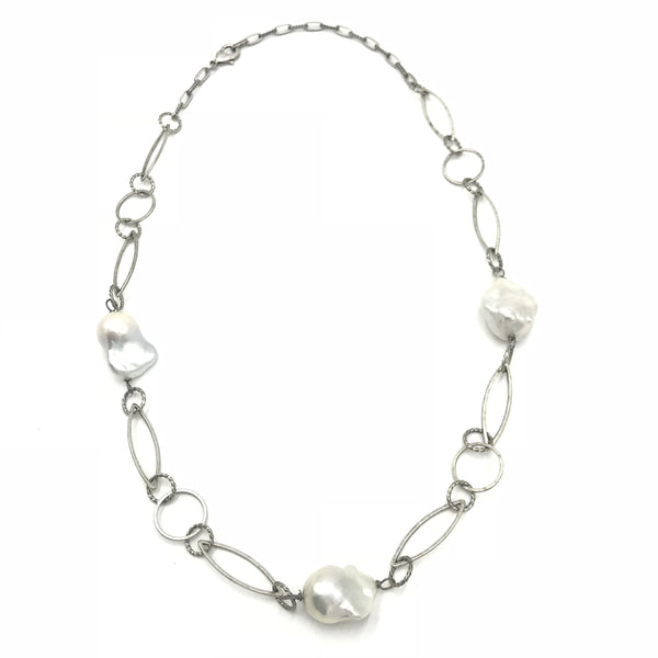 baroque pearl silver metal necklace