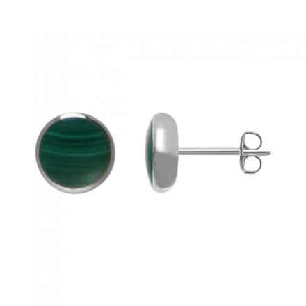 Malachite Circle Stud Earrings