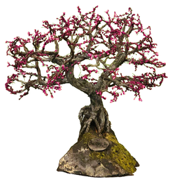 REDBUD ON PERIDOT WIRE TREE SCULPTURE