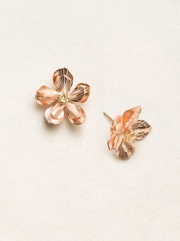Rose Gold/Champagne Double Plumeria Post Earrings