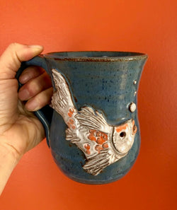 ORANGE AND WHITE KOI MUG