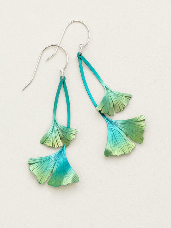 TURQUOISE/GREEN GINKGO DROP EARRINGS