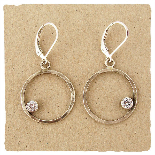 SILVER CIRCLE EARRINGS WITH CZ