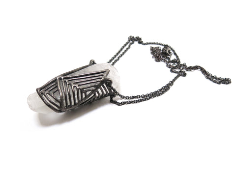 elaine ho cage quartz necklace