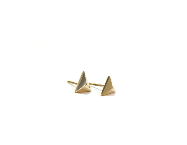 MINI TRIANGLE STUDS - 14K GOLD - elaine ho - 2