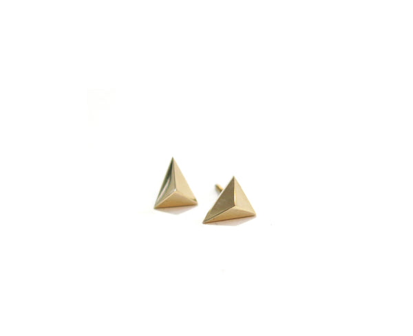 MINI TRIANGLE STUDS - 14K GOLD - elaine ho - 3