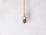 18K BLUE DIAMOND & RAINBOW MOONSTONE PENDANT