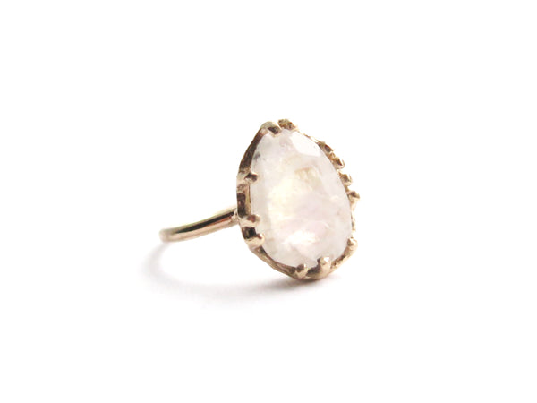 14K IRREGULAR CUT MOONSTONE  RING