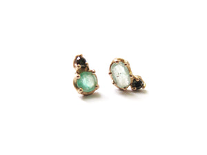 14K EMERALD & BLACK DIAMOND EARRINGS
