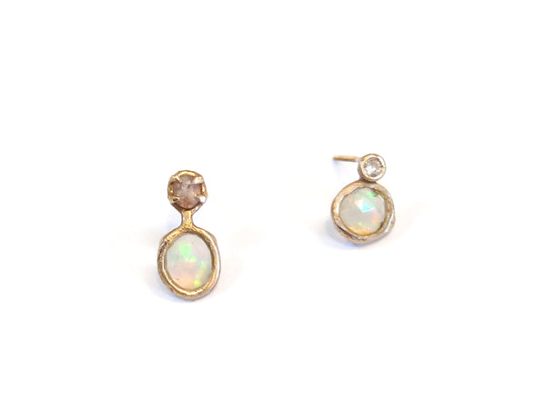 14K FACETED OPAL SAPPHIRE & DIAMOND EARRINGS