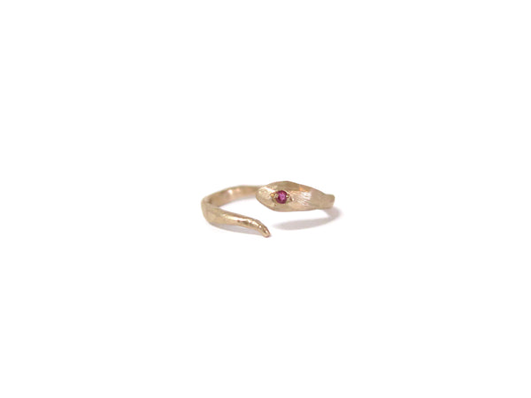 GOLD & RUBY SNAKE RING - elaine ho - 4