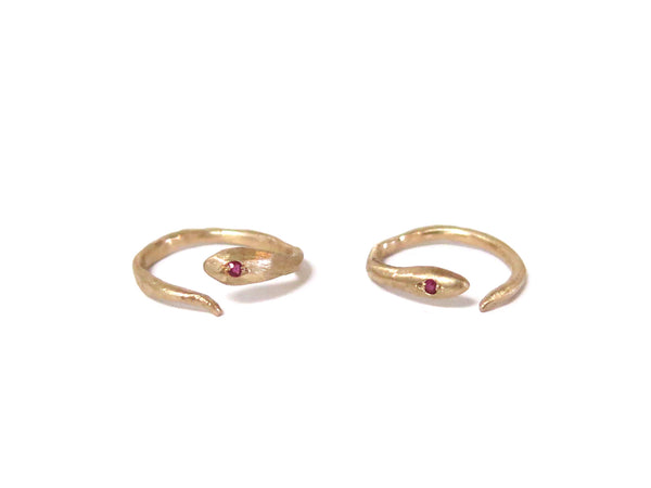 GOLD & RUBY SNAKE RING - elaine ho - 1