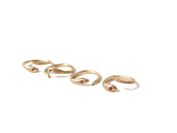 GOLD & RUBY SNAKE RING - elaine ho - 3