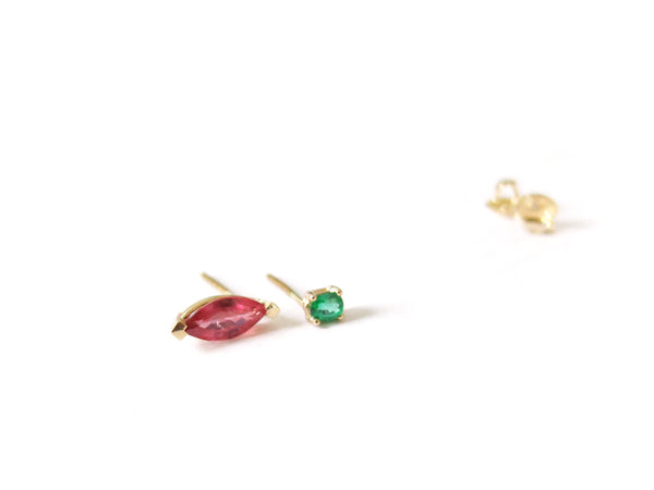 14K PINK SAPPHIRE & EMERALD EARRINGS