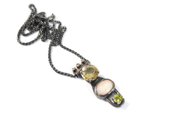 OPAL LEMON QUARTZ DIAMOND & PERIDOT PENDANT