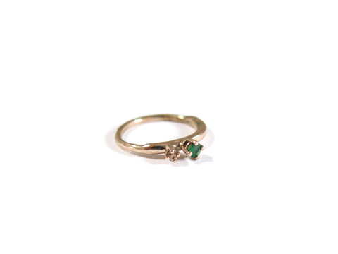 14K EMERALD + YELLOW DIAMOND WORM RING