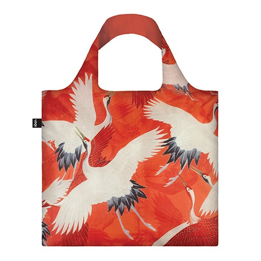 Loqi Shopping Bag Museum Collection - White & Red Cranes