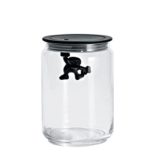 Alessi Gianni Medium Glass Jar with Black Lid