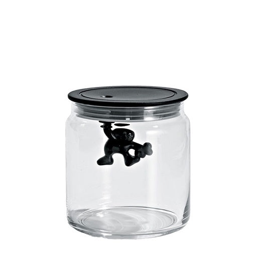 Alessi Gianni Small Glass Jar with Black Lid