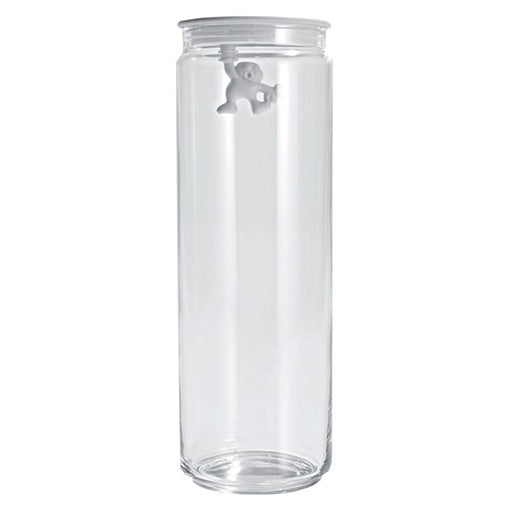 Alessi Gianni Tall Glass Jar with White Lid