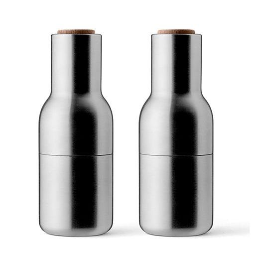 Menu Bottle Grinder Brushed Stainless Steel w/Walnut Set of 2