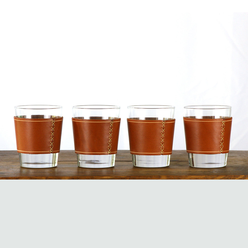 Leather Whiskey Glass Sleeve - 4 pack