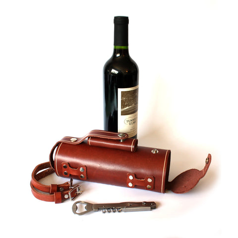 Bicycle Mounted Leather Wine Bottle Holder with Stainless Steel Opener