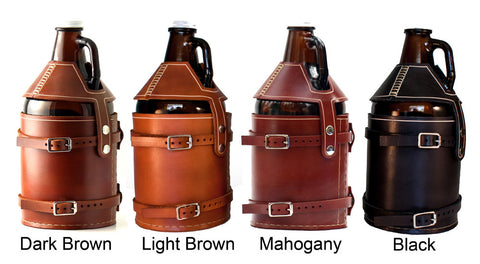 Bike Mounted Leather Growler Carrier - The Original