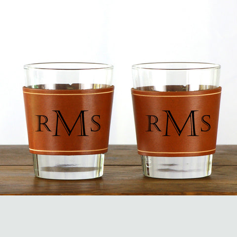 Leather Whiskey Glass Sleeve - 2 pack
