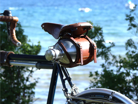 Bicycle Mounted Leather Carrier for SS Growler® w/ Stainless Steel Growler