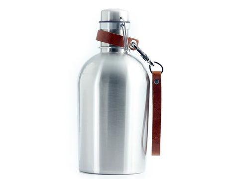 INSULATED SS Growler® with Leather Clip on Strap Handle - SS GROWLER® INCLUDED