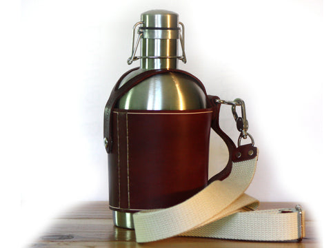 SS Growler® Leather Carrier w/ Shoulder Strap and Stainless Steel Beer Growler