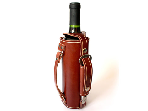 Leather Wine Bottle Holder with Stainless Steel Opener and Carrying Handle