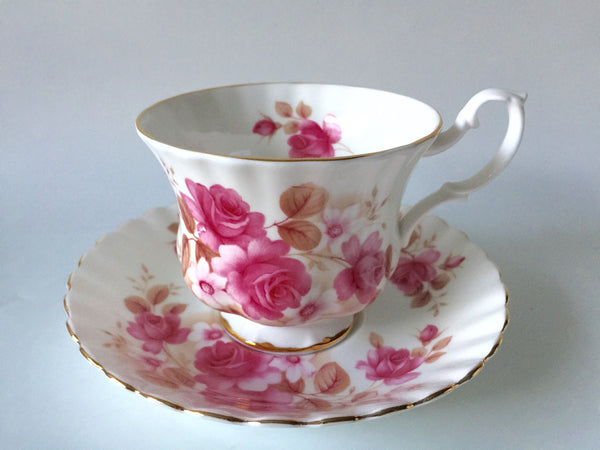 Porcelain - Royal Albert Pink Roses Teacup and Saucer