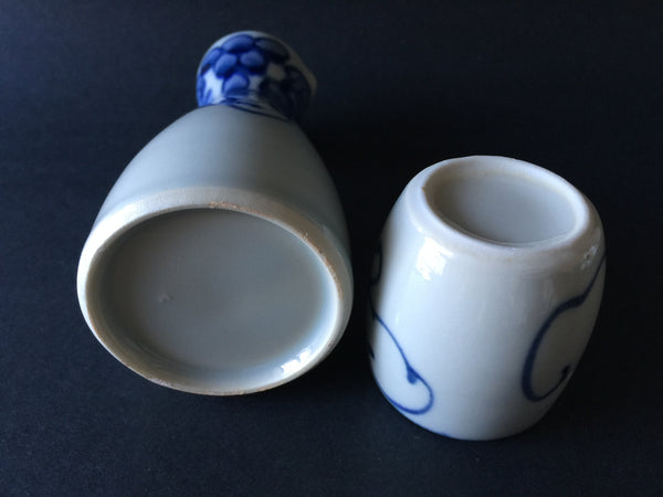 Japan Handpainted Blue & White Sake Set