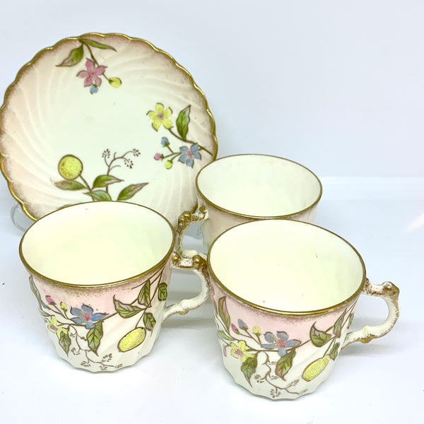 Antique J B & Son Handpainted Coffee Cup Dish Set 4pcs