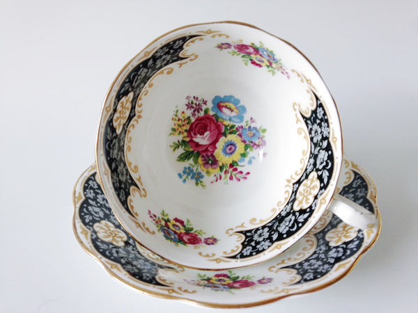 Porcelain - Royal Standard Black White Floral Footed Teacup Saucer