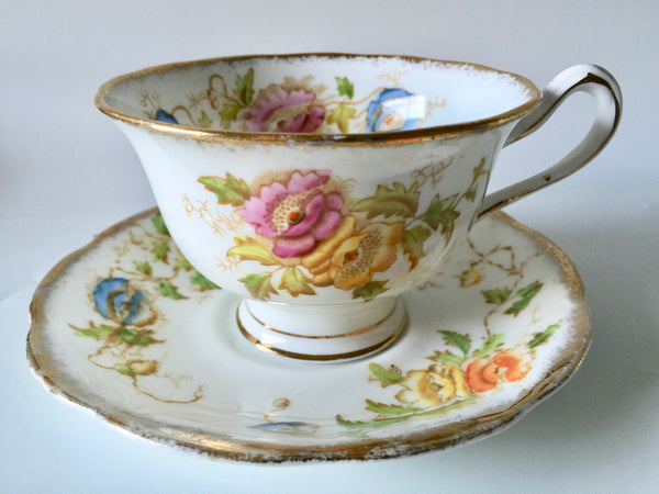 Porcelain - Royal Albert #2583 Pink Yellow Roses Teacup Saucer 1940s