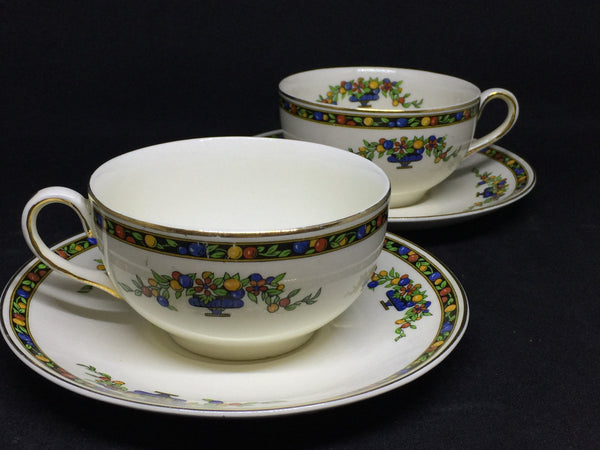 Antique 1030s Johnson Bros Pareek Cups and Saucers 2 Sets