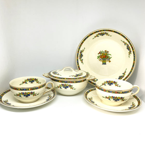 Antique Johnson Bros Pareek Teacups Sucers Fruit Bowl Salad  Plate Set