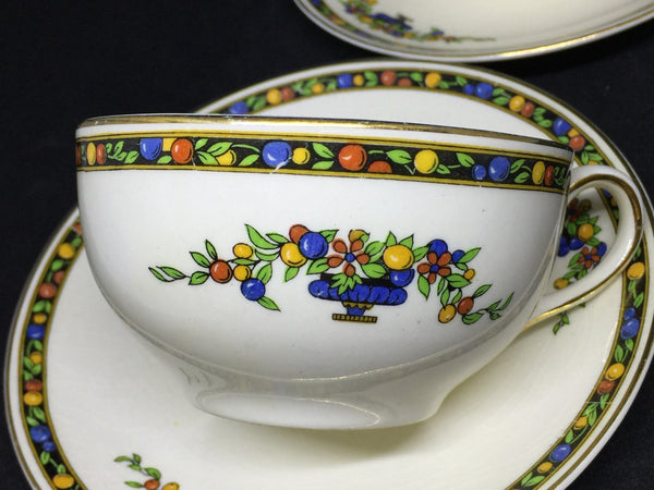 Porcelain - 1930s Johnson Bros Pareek Cups and Saucers 2 Sets