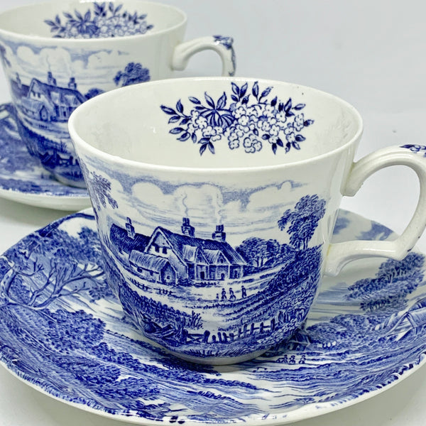 Porcelain - Ridgway Staffordshire Ironstone Transferware Meadowsweet Blue Cup Saucer