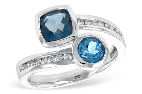 D5713 Blue Topaz & Diamond Ring