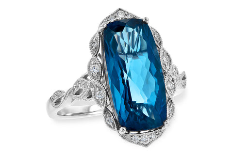 D5729 14k White Gold Blue Topaz Ring