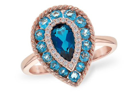RD5762-W 14k Rose Gold Ring with Diamonds and Blue Topaz