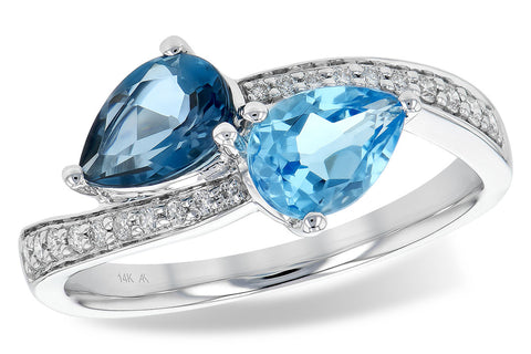 RD5713-W 14k white gold ring with diamonds, and blue topaz