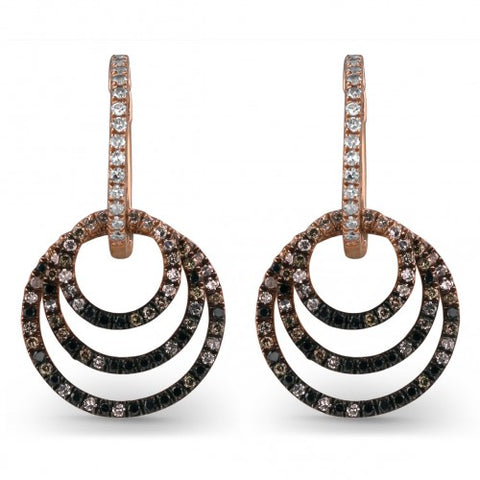 ERDE10269 14k Rose Gold and Diamond Earrings