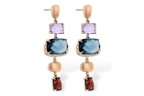 E1880 Rose Gold Semi Precious Stone Earring
