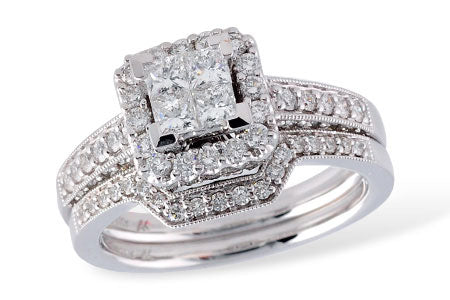 H11269 14k White Gold and Diamond Wedding Set